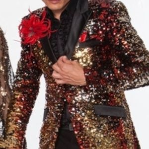 Red Gold Silver Black Sequin Blazer.